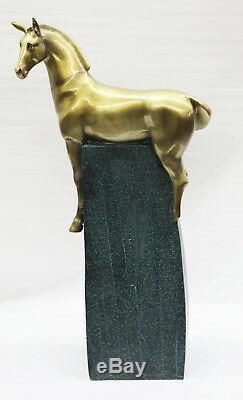 Course Cheval Pure Bronze Statue Sculpture Art Déco Équestre Stallion Artwork