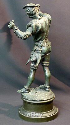 D 1870 superbe statue sculpture bronze signée BARYE fauconnier 43cm 5.2kg art