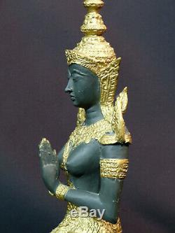 D N2 Art ASIE statuette statue bronze danseuse indonésie costume doré 2.2kg34cm
