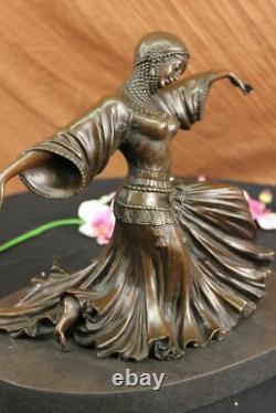 Danseur Vegas Show Filles Art Déco Bronze Sculpture Marbre Figurine Décor