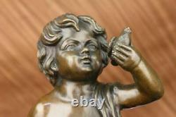 Delightful 100% Bronze Chair Garçon Signée A. Moreau Fonderie Mark Sculpture Art