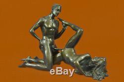 Deux Pièces Vienne Érotique Bronze Sculpture Figurine Style Art Nouveau Sexuelle