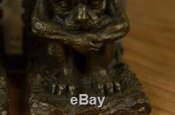 Devil Satan Démon Lucifer Gargouille Enfer Trône Bronze Sculpture Statue Art