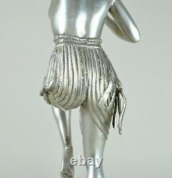 Diane à l'Arc, Grande Sculpture En Bronze Argenté, Art Déco, 20eme Siècle