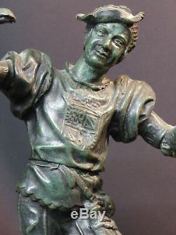 E 1870 superbe statue sculpture bronze signée BARYE fauconnier 43cm 5.2kg art