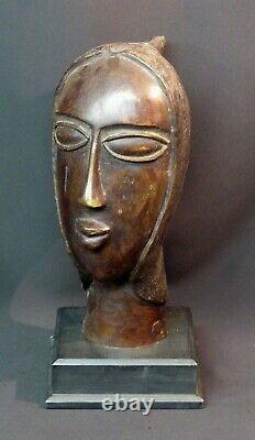 E Art Africain superbe sculpture ancienne bronze visage buste tête 4.7kg35cm