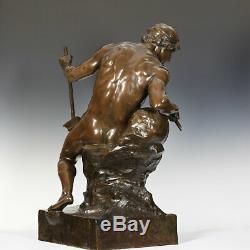 E. L. Picault La Source Du Pactole 1898 Bronze Sculpture Flußgott Art