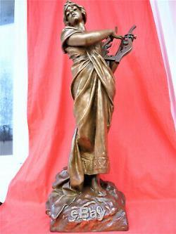 E. Villanis Grand Bronze Art Nouveau 73 CM Sculpture Statuette Bronzo Bronce