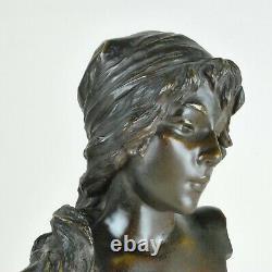 E Villanis, Mignon, Sculpture En Bronze Signée, Art Nouveau, 20eme Siècle