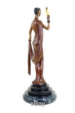 Élégant Art Déco Bronze Sculpture Danseuse avec Masque Signé pour Preiss