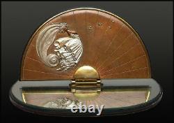Erté Rare Papillon Original Bronze Sculpture Table Miroir Signée Art Déco Art