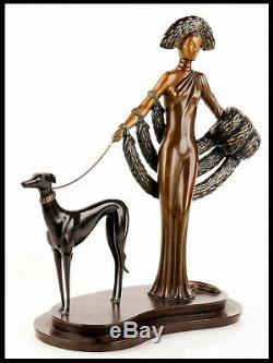 Erté Signée Bronze Sculpture Élégance Original Art Antique Femelle Rare