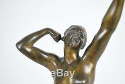 Eveil, sculpture en bronze femme nue, art deco, 20eme siècle