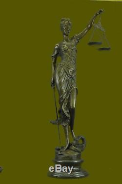 Fait à la Main Dame Justice Aveugle Bronze Art Sculpture Figurine Statue 39