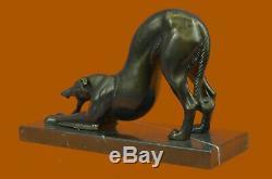 Fait à la Main Signée Lévrier Racing Chien Bronze Sculpture Figurine Art Déco
