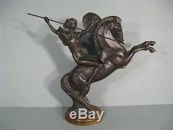 Femme Guerrière Amazone Cheval Sculpture Art Déco Bronze Daprès Molins Balleste