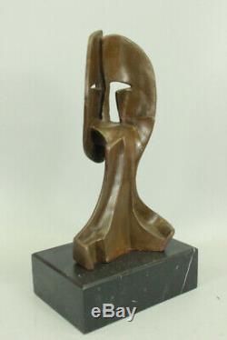 Figurine Bronze Sculpture Statue Art Déco Moderne Visages par Picasso Marbre Lrg
