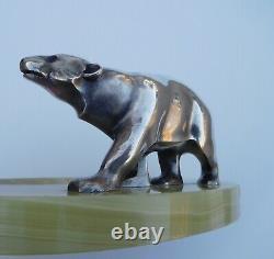 Français Art Déco 1920s Argentés Bronze Polar Ours Statuette Sculpture Carte De