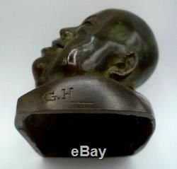 Gaston Hauchecorne Sculpture Art Deco Bronze Personnage Chinois Signee