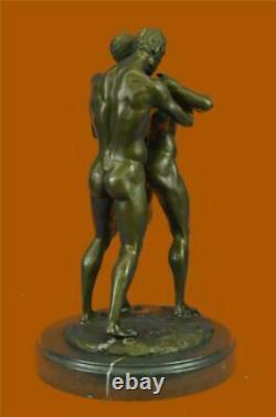 Gay Érotique Bronze Art Statue Homo Nue Homme Figurine Nu Mâle Sculpture Signé