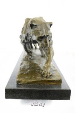 Grand Bronze Statue Sculpture Lion Panthère Tigre Puma Cougar Chat Africain Art
