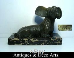 Grand Chien Art Déco Schnauzer en Bronze Signé De Roche