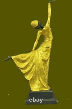 Grand Dimitri Chiparus Danseuse Art Déco Bronze Sculpture Marbre Base Figurine D