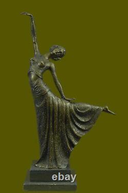 Grand Dimitri Chiparus Danseuse Art Déco Bronze Sculpture Marbre Base LR