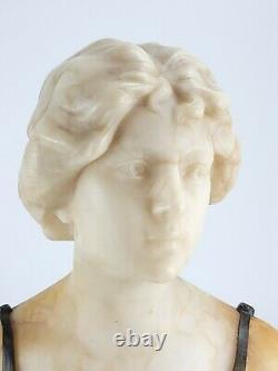 Grand Fin Antique Marbre Albâtre Bronze Buste Sculpture Schumacher Art Nouveau