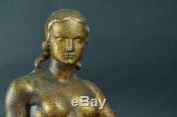 Grand Sculpture art deco signée Joseph Andrau Toulouse Nue assis Pat. Bronze Doré