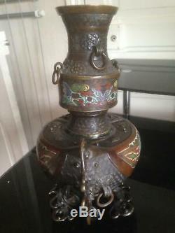 Grand Vase sculpture Bronze Cloisonné Art d'asie Chine Japon, beau Décor