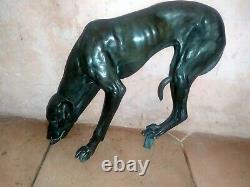 Grand levrier buvant en bronze, Art deco, Jules Edmond MASSON (1871-1932)