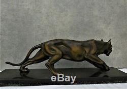 Grande sculpture panthère art deco en régule patine bronze et base marbre