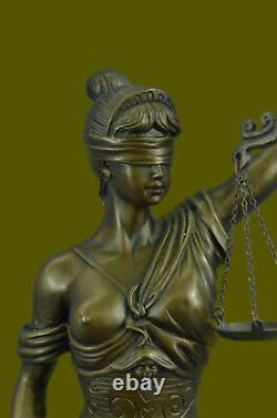 Grec Déesse Themis Statue Véritable Bronze Store Dame Justice Sculpture Art Déco