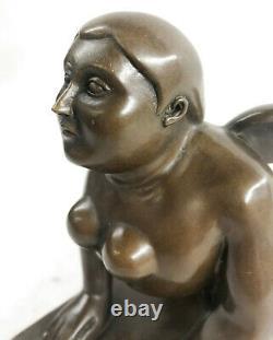 Grec Sphinx Bronze Sculpture Statue Figurine Art Déco'Lost' Cire Par Botero