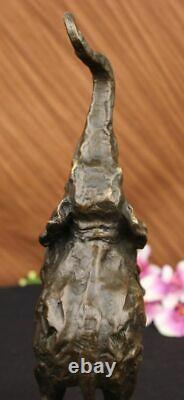 Happy Éléphant Bronze Sculpture Statue Art Décor Marbre Base Domestique Deco