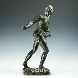 Henri Du Gauquié (1858-1927) Sämann Art Nouveau Bronze Sculpture Fac et Spera