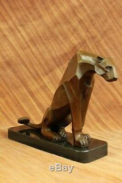 Henry Moore Art Moderne Abstrait Couguar Panthère Jaguar Lion Bronze Sculpture