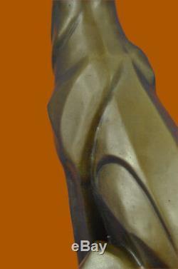 Henry Moore Art Moderne Abstrait Panthère Jaguar Cougar Lion Bronze Sculpture