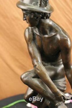 Hermes Mercure Romain Messager God Statue Bronze Sculpture Fonte Art Déco