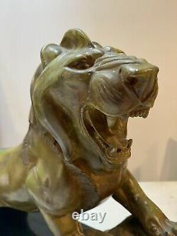 Important Lion Irenee Rene Rochard Sculpture Patine Bronze Art Deco Cubism Fonte