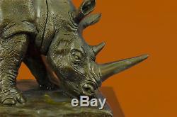 Incroyablement Détaillé Rhinocéros Bronze/Noir Rhino Art Déco Faune Sculpture