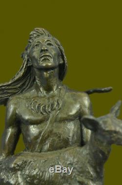 Indien D'Amérique Art Chef Guerrier Bronze Marbre Statue Sculpture Figurine