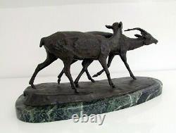 Irénée Rochard (1906-1984) fonte ancienne en bronze couple d'antilopes art déco