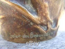 Jeanne Jozon sculpture bronze visage feminin chardons pichet époque Art Nouveau