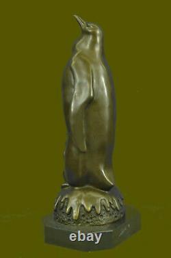 Jungle Pingouin Oiseau Fait Art Moderne Bronze Sculpture Statue Figurine Solde