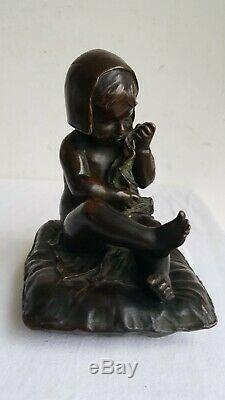 LOISEAU ROUSSEAU Sculpture BRONZE Patine 1910's Signe ENFANT Sortie de bain Art