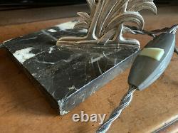Lampe ART DECO sculpture métal argenté chromé verre tulipe SCHNEIDER marbre