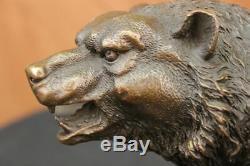 Large et Féroce Ours par Barye Art Déco Vie Sauvage Bronze Sculpture Statue