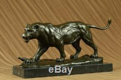 Lethal Predator de Jungle Jaguar Bronze Sculpture Milo Marbre Figurine Art Déco